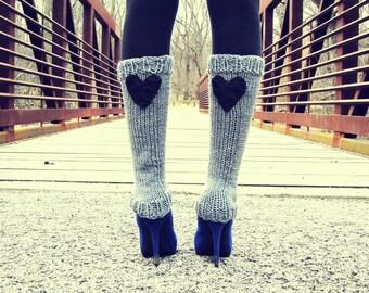 Womens Leg Warmers Ladies Knit Leggings Valentines Day Gifts Gray Knitted Legwarmers Grey Crochet Legwear