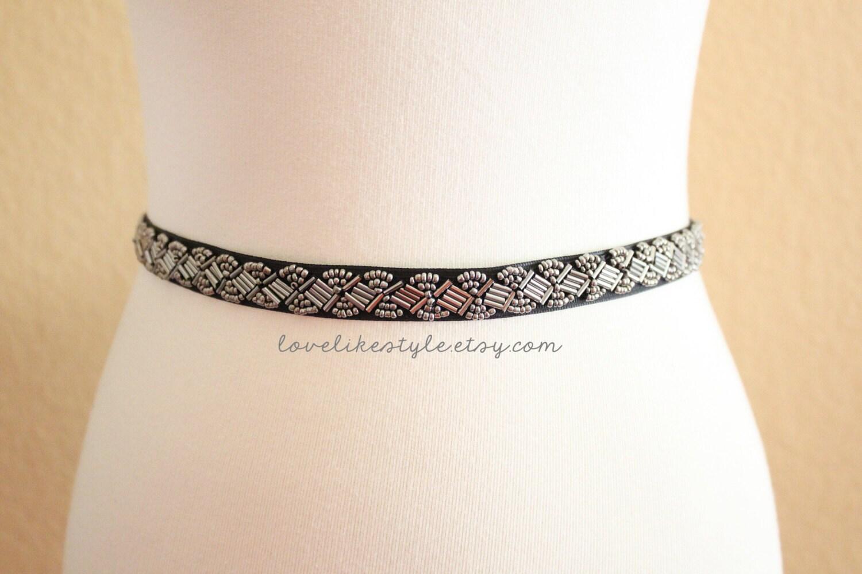 gunmetal beaded lace black grosgrain ribbon sash bridal
