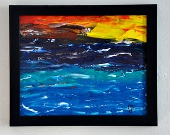 Stormy Sunrise - Framed Original Abstract  8 x 10 Oil on Canvas