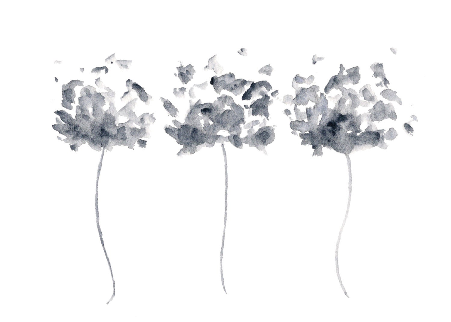 Simple paintings of flowers black and white
