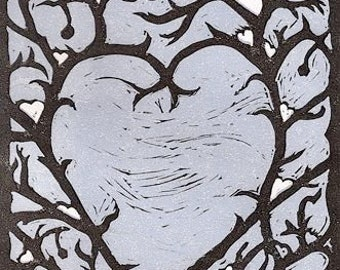 Snow Hearts Block Print
