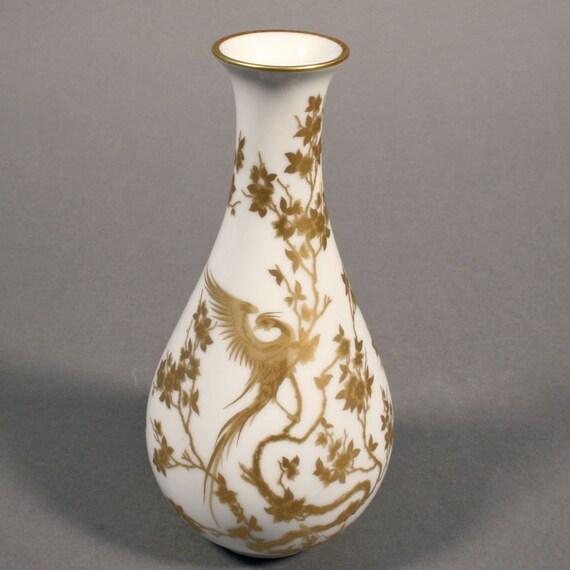 hutschenreuther porcelain bud vase with gold phoenix design. Black Bedroom Furniture Sets. Home Design Ideas