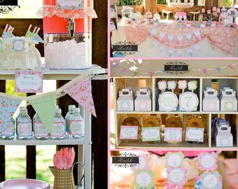 Tea Party - Girls Birthday Party - Shabby Chic - Tea Party - PRINTABLE Personalized Party Package