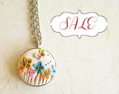 Sale jewelry, Colorful  Flower Necklace, 0.71 inches pendant