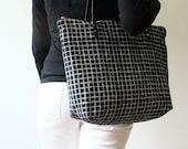 Zip Tote Weekender Bag Screen Print Black Linen