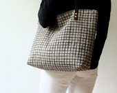 Linen Tote Bag Black Screen Print Grid Brown Leather Handles