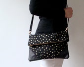 Fold Over Cross Body Bag with Removable Strap Metallic Gold  Polka Dots