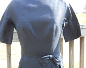 SALE Vintage Navy Dress Early 1960's Navy Party Dress with Bow and Side Pleats Size Smal