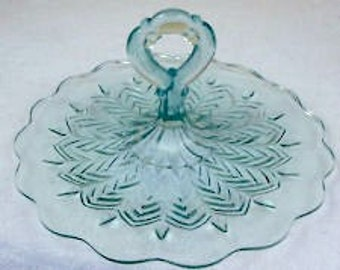 sale Jeanette glass ice blue  center handle  serving tray blue glass tray