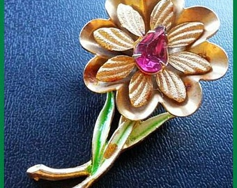 "CORO Flower Brooch Pin Pink Rhinestone White Green Enamel Gold Metal Trim 2 1/4"" Vintage"