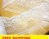 """Lace trim 15 Yards, Lace Trim, Floral Lace, scalloped edged lace 3.5"""" wide for Wedding Ring Pillow, Wedding Decor, Bridal Lace, Garter, Veil"""