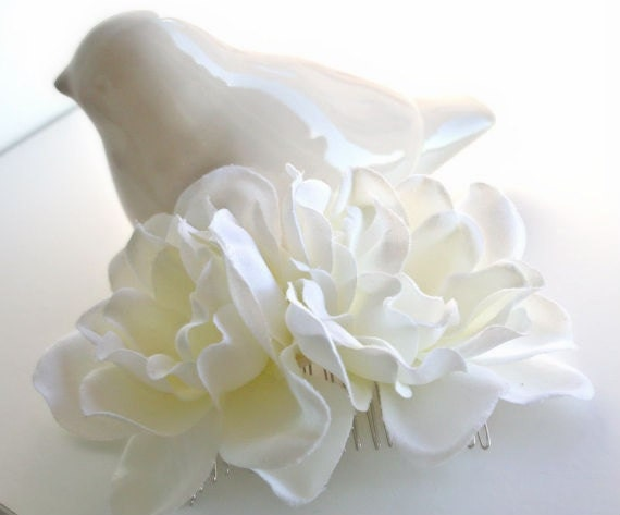 Double IVORY Gardenia Hair Comb Wedding Bridal Hairpiece Floral Headpiece Wedding Comb Bridal Hair Accessories