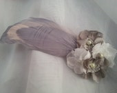 HOLIDAY PRICING Gray and White Flower and Feather Hair Clip