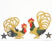 1940's-50's Chicken Rooster Fowl Set Wall Metal Farmhouse Cottage French Prairie Retro Midcentury Rustic Primitive Wonderful Patina