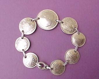 Lovely World War 11 Era Sterling Silver Bracelet of Australian Coins