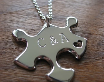 Puzzle Pendant Necklace with two Stamped Initials and heart