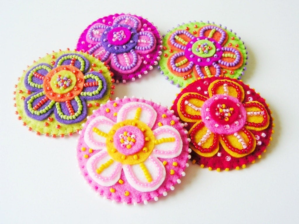 Beaded Felt Flower Brooch Colorful Flower Pin Bright Brooch