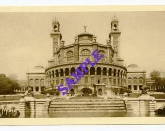 Digital Download-La Trocadero-Paris Landmark postcard in sepia tones