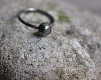 Sterling silver cabochon ring, unique, hand forged, hammered