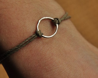 Friendship bracelet with sterling silver circle of life, rustic, organic, unique