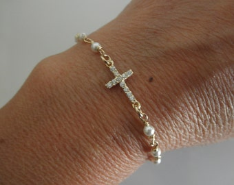 Vermeil CZ sideways cross chain bracelet with swarovski pearls - gold cross bracelet - gold sideways cross bracelet - pearl bracelet
