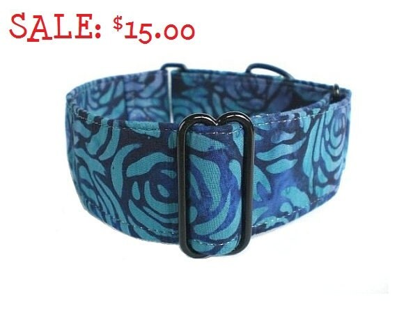 SALE: Batik Rose Martingale Dog Collar