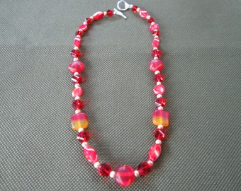 Red Lampworked Beaded Necklace