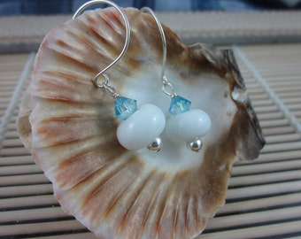 Baby Blue and White Handmade Artisan Lampwork Bead and Sterling Silver Earrings