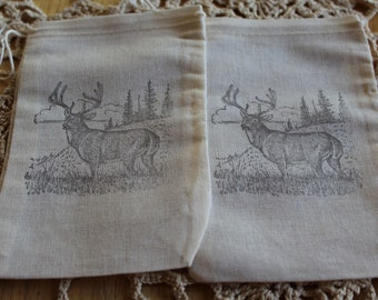 Set of 10 Hand stamped Deer Muslin Party Favor Bags 100% organic made in america