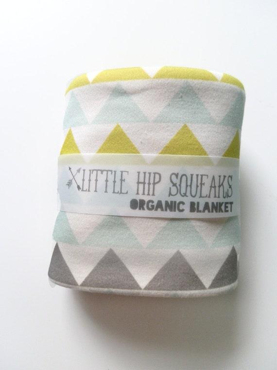 Kids Blanket, Geometric Triangles, Choose from 4 Colorways, Modern Organic Bedding