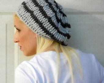 two tone grey crochet slouchy cloche hat, tam, boho,beanie