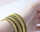 2 Yellow unisex bracelets, zipper jewelry, wrapped bracelet by SakuraZIPPERjewelry.