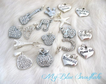 Add a Charm Rhinestone Charms, Crystal Charms, Rhinestone Initial Charms, Shiny Silver charms Heart  Apple Mouse Head Sister