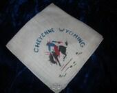 Cheyenne Wyoming Souvenir Hankie Cowboy on Bronco Bucking Horse Handkerchief