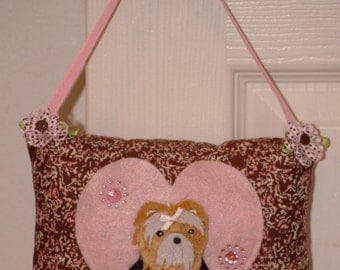 SALE Pink and Brown Puppy Tooth Fairy Pillow