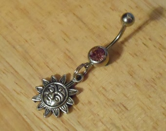 Belly button ring - Sun with light purple stone belly button ring