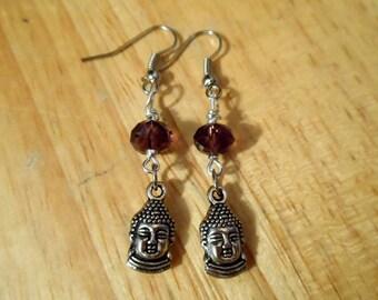 Silver Buddha Earrings - Long Buddha Earrings - Silver Earrings - Dangle Earrings