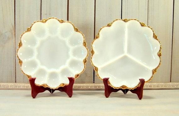 2pc Milk Glass Serving Platters, Fire King with 22k Gold Trim, Vintage Wedding, Vintage Serving, Vintage Housewares