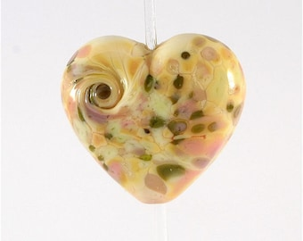 Yellow Pink Green Lampwork Bead Heart Focal SRA DUST Team LE Team AWHIMteam