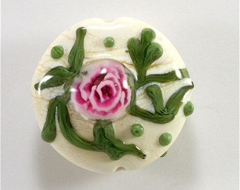 Lampwork Bead Handmade Lampwork Glass Bead Lampwork Rose Focal Cream Pink Green  SRA DUST Team LE Team