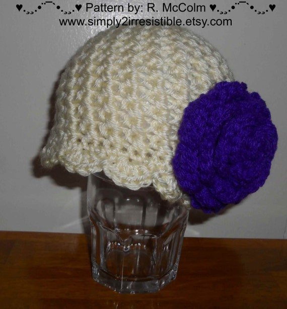 The Paisley Cross Stitch Rose Cloche - Crochet Pattern 49 - us and uk terms - Newborn to Adult - Crochet Hat PATTERN - INSTANT DOWNLOAD