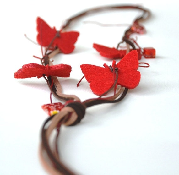 Red Butterfly Necklace, Felt Jewelry, Fiber Animal, Eco Friendly