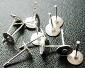 100 pcs  Silver Earring Posts Earring Studs  Findings, 6mm Pads, FREE SHIPPING within USA