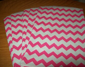 Chevron Hot Pink Middy Bitty Treat, Favor, Party, Bags Set of 20