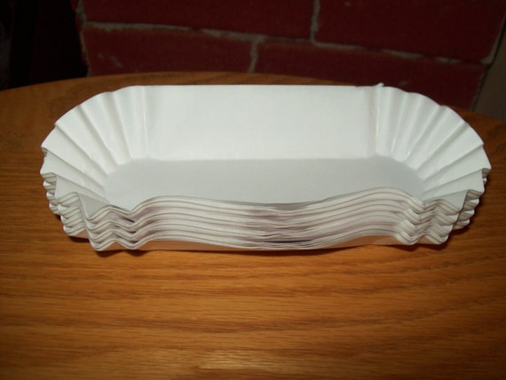 Retro White Paper Hot Dogs Tray Holders Picnic Cookout
