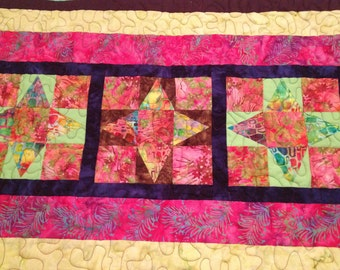 Quilted Table Runner - Batik Table Runner - Patchwork Table Runner - Handmade Runner - Batik  Prints Table Runner - Quilted Table Runner