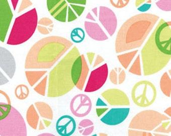 Benartex Fabric - Girls Rock - Peace Out - White-Choose Your Cut 1/2 or Full Yard