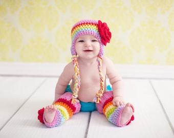 baby hat, rainbow hat, girls rainbow hat, girls hat, little girls hat, crochet girl hat, baby girl hat, kids hat, crochet kids hat