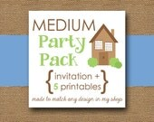MEDIUM Printable Party Pack - You Choose Invitation Design and Five (5) Coordinating DIY Party PRINTABLES
