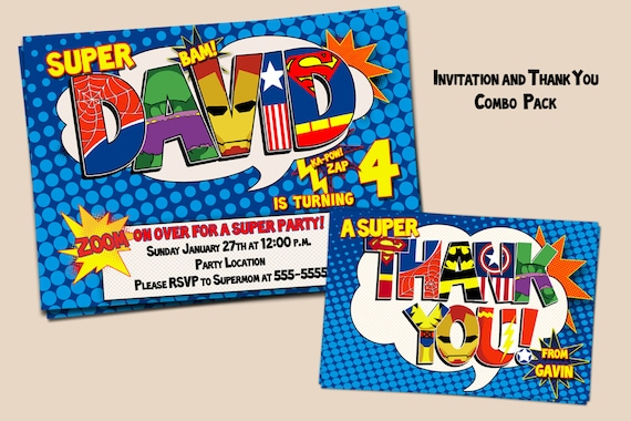 Customized Superhero Party invitation and Thank You card-digital